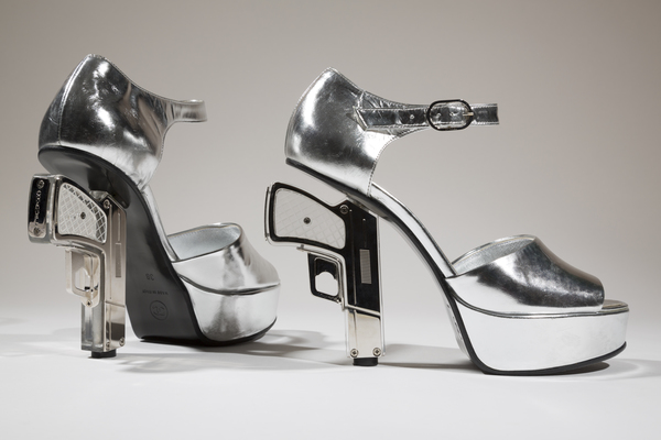 silver leather platform sandal with gun heel